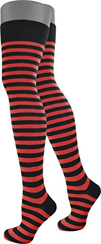 4 Paar Modische Overknees für Teenager und Damen in verschiedenen trendigen Ringelfarben | große Farbauswahl Schwarz/Rot/Schmal