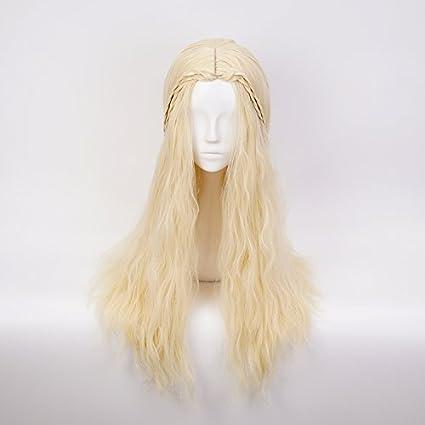 Ani·Lnc Daenerys Targaryen largo oro rizado de leche 70CM para la peluca del partido