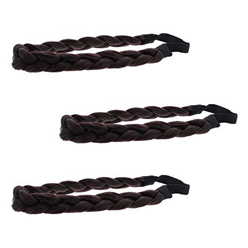 3 Hair Braid Headwraps Medium Plaited Braided Elastic Headband (Brown) ()