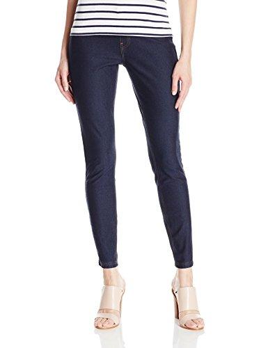 HUE Women's Essential Denim Leggings, Deep Indigo Wash ()