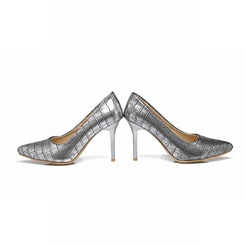 MissSaSa Damen Stiletto Pointed toe Leder-Pumps Silber