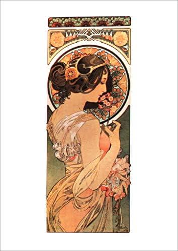 ポスター ミュシャ 『桜草』 サイズ :A4【返金保証有 日本製 上質】 [インテリア 壁紙用] 絵画 アート 壁紙ポスター