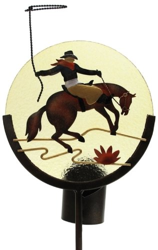 Candle Holder Garden Stake Horse Back Riding Cowboy Ropers Image Statue Decorative Silhouette Indoor Outdoor Pillars Votive Stand