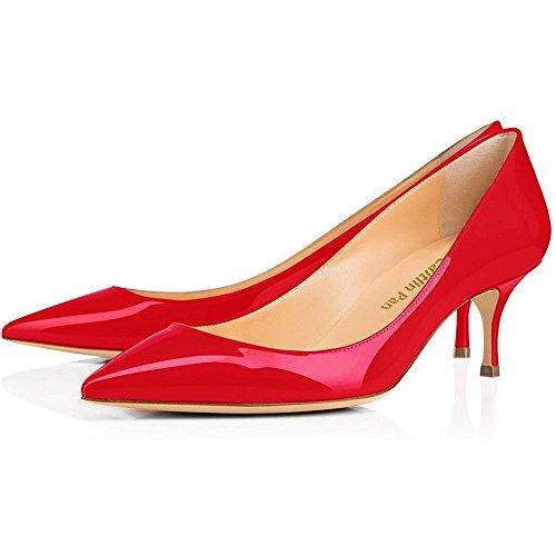 Party Heel Red Punta Pan Pompe Scarpe Pelle Rossa Lavoro 65MM da Caitlin Kitten Donna ciata Punta Da a Verni Dress Suola wO87Ug