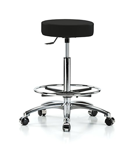 Perch Single Lever Adjustable Rolling Backless Swivel Stool in Chrome with Footring for Office Salon Home Garage or Work Shop (Hard Floor Casters/Black Fabric)