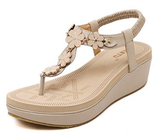 LOBTY Damen Toe Sandalen Mit schwerem Boden Sandalen Wedges Damen Schuhe mit hohen Absätzen Damen T-Strap Keilabsatz Keilsandaletten Gesteift Gr.35-40 Beige