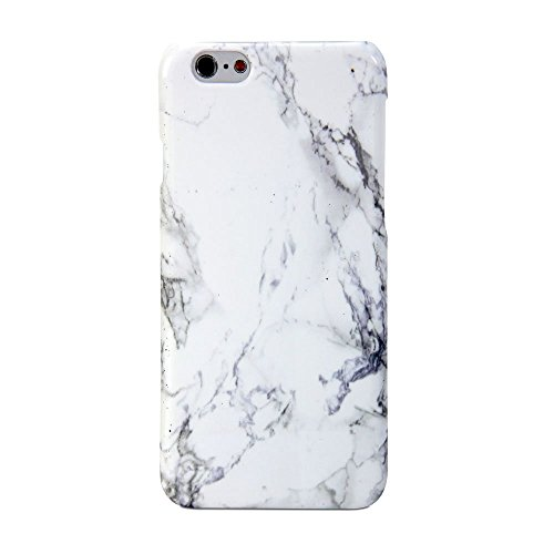 EVERMARKET(TM) White Marble Pattern Soft Rubber TPU Case Cover and 1 Clear Screen Protector for Apple iPhone 5C