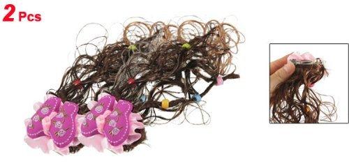 Amazon.com: eDealMax niñas Brown peluca rosa caída de la decoración Floral Postizos pinza de Pelo DE 2 piezas: Health & Personal Care