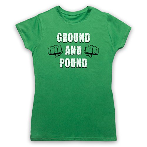 Ground And Pound MMA Fighting Slogan Camiseta para Mujer Verde