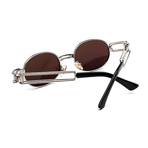 de marco redondas lente de metal Gafas de sol señoras hombres de transparente los de de Gafas gafas ovales Lentes Yefree Azul Oqg0nII