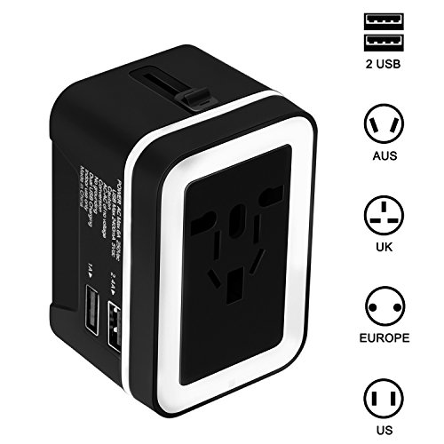 Travel Adapter, Amoner All in One Universal Travel Plug Converter Worldwide AC Plug Adapter International Wall Charger with Dual USB Charging Ports for US EU UK AUS Europe Cell Phone (BlackWhite) by Amoner