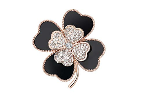 - QXX-brooch Female Four-Leaf Clover Decorative Coat Suit Coat Brooch Needle Alloy Gold-Plated Silver Plated Creative Pin Decoration (Color : Black Brooch+Earrings)