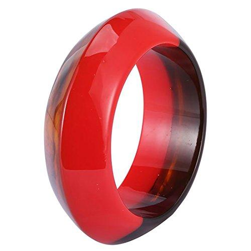 GuanLong Fashion Colorful Resin Bangles Bracelets For Women (Red)