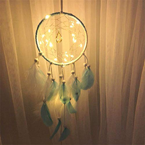 Dream Catcher Bohemian Traditional Handmade Beading Feathers Dreamcatcher with LED Twinkle Lights Home Wall Bedroom Hanging Decor Wedding Ornaments Gift (Multicolor) -