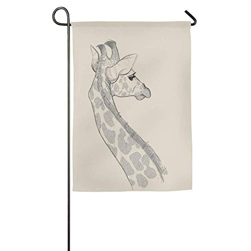 HUVATT Pencil Drawing Giraffe and Giraffe Garden Flag Indoor & Outdoor Decorative Flags for Parade Sports Game Family Party Wall Banner 28 x 40 inch