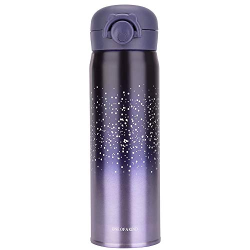 Stainless Steel Mug Vacuum Insulation Cup Starry Sky Thermal Water Bottle Leak-proof Straight -