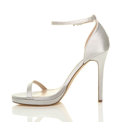 Heel Ajvani High Size Sandals Women There Satin Silver Barely rwO1ErAcq