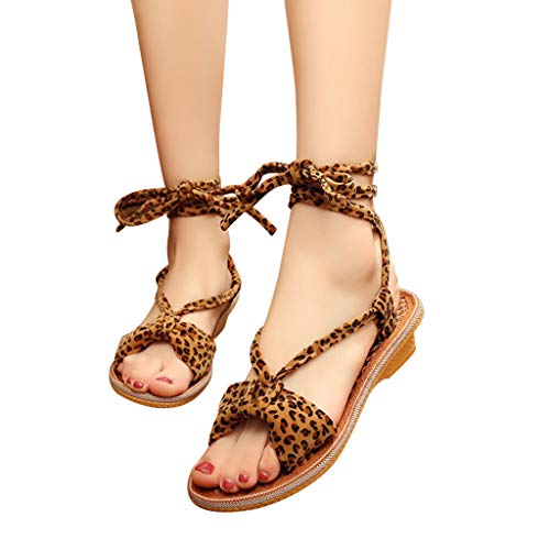 Behkiuoda Women Summer Flat Sandals Leopard Print Lace-Up Ankle Shoes Peep Toe Outdoor Causal Sandals Brown ()