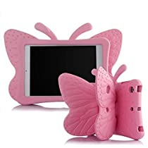 Butterfly iPad case, Leebay Non-toxic Light Weight EVA Butterfly Kids-use 3D Cartoon ipad 4 3 2 case, Shockproof Cover with Stand for kids (Pink)