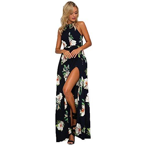 a1ab6219e236 Damen Maxi Kleid Neckholder Blumendruck Sleeveless Sommer Strand lange  Schlitz Kleid böhmischen Kleid Blue z4aEen8l