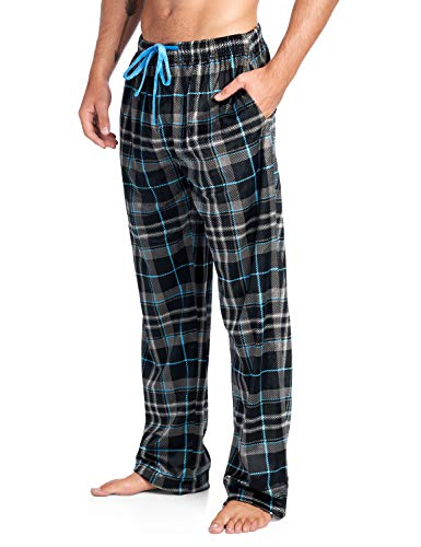 (Ashford & Brooks Men's Mink Fleece Sleep Lounge Pajama Pants - Black/Charcoal - 2X-Large)