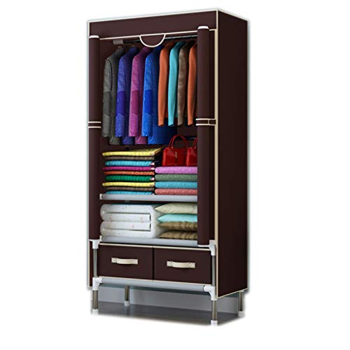 (ALWUD Portable Wardrobe Clothes Storage Organizer, Single Closet Shelves with Hanging Rod 2 Drawers Left and Right Pulled Cloth Wardrobe,Coffee_30x67x17.7Inch)