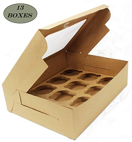 Bakery Boxes with Windows and Inserts for 12 Cupcakes or Muffins; Pastries, Baked Goods, Treats. Set of 13 Kraft Brown Boxes -Take Out Box Containers. Perfect for Any Baker. 12.25