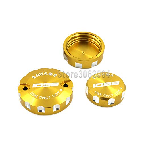 (crazy sport For DUCATI 1098/R/S 2007-2009 Front Brake Clutch & Rear Brake Reservoir Cover Cap Oil Tank Cup Motorcycle Accessories With Logo (Gold))