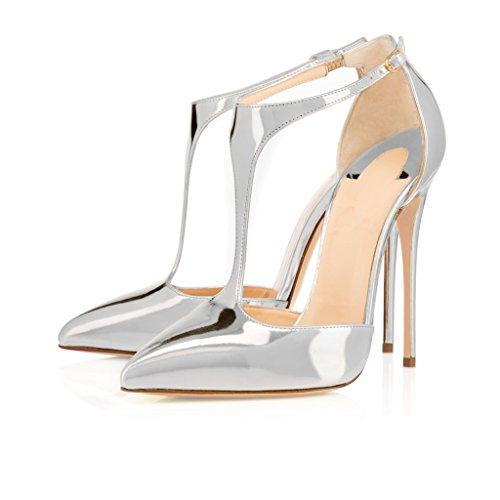 Eldof Mujeres High Heel Pumps | Bombas De Punta En T Con Correa En T De 12cm | Hombrestalic Shinning Upper Stiletto | Vestido De Noche Zapatos Plata