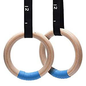 Well-Being-Matters 41X7TX8XtwL._SS300_ PACEARTH Wooden Gymnastics Rings 1500lbs with Adjustable Cam Buckle 14.76ft Long Straps Non-Slip Training Rings for Home…
