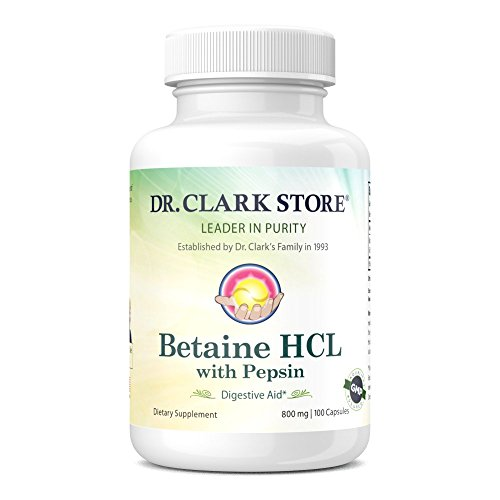 Dr. Clark Betaine HCL Supplement with Pepsin, 800mg, 100 capsules