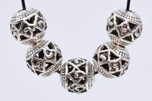 10 Pcs 8mm Antique Silver Plated Spacer Beads Carve Round Loose Beads Hole 2mm Crafting Key Chain Bracelet Necklace Jewelry Accessories Pendants ()