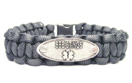 (Bee Stings Black ChubbyChicoCharms 550 Paracord Pewter Charm Bracelet)