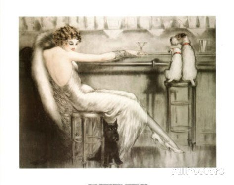 Le Cocktail Lady with Dogs by Louis Icart Art Deco Reproduction Print Poster (20 x 16)
