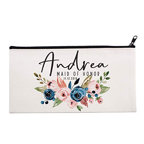 Personalized Makeup Bag Bridesmaid Wedding Customized Pouch Bachelor | Design-12 | Single]()