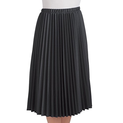 Women's Classic Pleated Mid-Length Jersey Knit Midi Skirt with Comfortable Elastic Waistband, Black, Large - Made in The USA ()