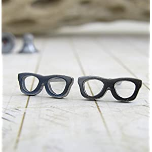 Eye Glasses tiny stud earrings oxidized sterling silver geek jewelry. Optician gift. Handmade in the USA.