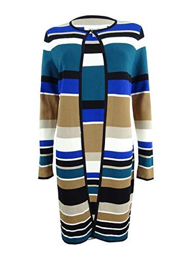 Calvin Klein Women's Petite Striped Long Cardigan (PXS, Blue/Multi)