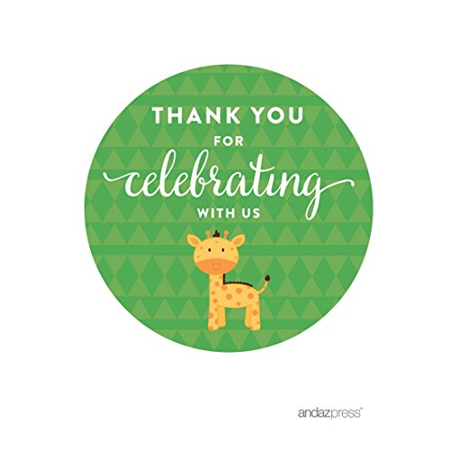 Andaz Press Jungle Safari Baby Shower Party Collection with Giraffe, Round Circle Label Stickers, Thank You for Celebrating with Us!, 40-Pack