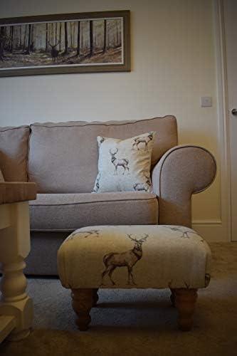 Small Stag Print Animal Footstool - Hard Wood Turned Waxed Legs - Quality Materials - Medium Density Foam