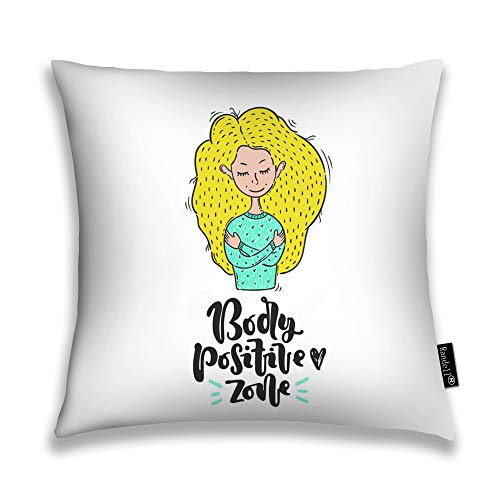 Randell Throw Pillow Covers Body Positive Zone Heart Girl Idea Home Decorative Throw Pillowcases Couch Cases 22