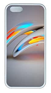 3D Abstract Design TPU Silicone Rubber iPhone 5 and iPhone 5S Case Cover - White