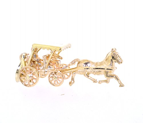 14K Yellow Gold Carriage Charm