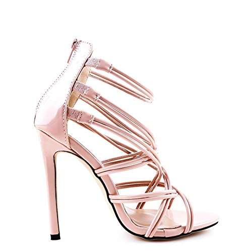 Evening Women's Stiletto Open Toe amp; A Party Apricot Comfort PU Heel Sandals Black for Shoes Spring Summer Wedding Gold FYBFrH6q