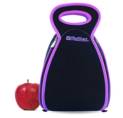 Smart Neoprene Lunch Box that Converts to a Placemat - For Kids School or Office, Machine Washable, Lightweight and Insulated! (Black/Purple)