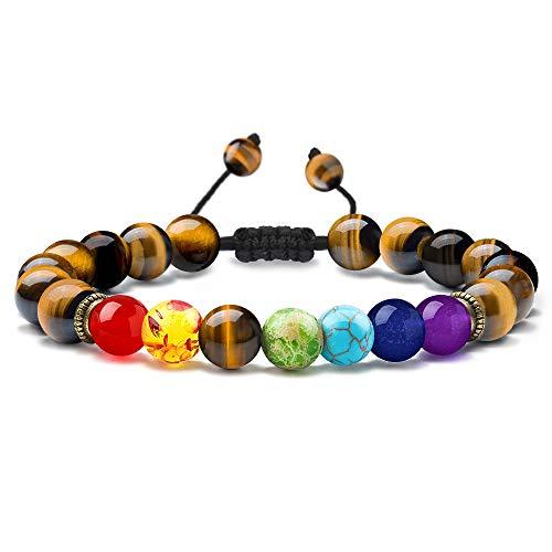 M MOOHAM Gemstone Bead Bracelets, 8mm Natural Stone Chakras Tiger Eye Stone Bead Bracelet, Men Women Stress Relief Yoga Beads Adjustable Semi-Precious Stone Bracelet Bangle -