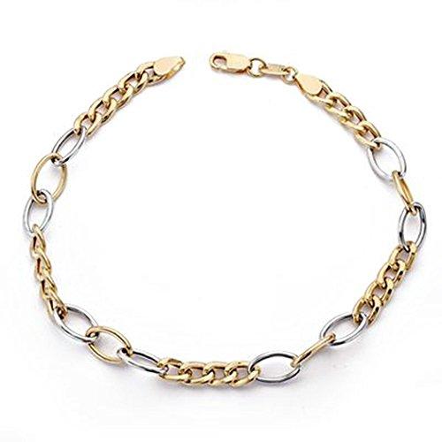 Bracelet 18k or liens bicolor creux [AA0128]