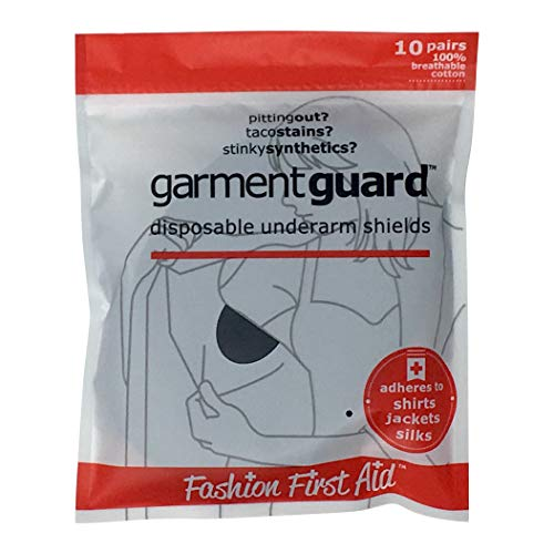 (Garment Guard: disposable adhesive underarm shields (10 pairs, Black))