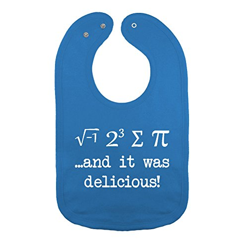 We Match! Unisex-Baby - I Ate Some Pie And It Was Delicious Funny Math Geek Thick PREMIUM 2-Ply Cotton Baby Bib With Snaps (Cobalt)