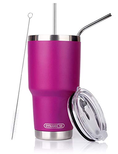 DYNAMIC SE 30oz Tumbler Fuchsia Double Wall Stainless Steel Vacuum Insulated Travel Mug with Splash-Proof Lid Metal Straw and Brush